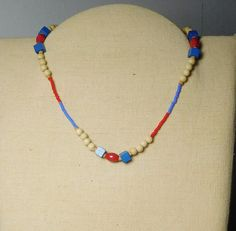 Beaded Choker Necklace Red White Blue Wood and Seed Beads 15