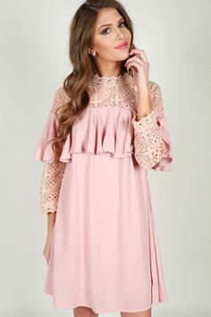 Happy Habits Crochet Dress in Rose Quartz