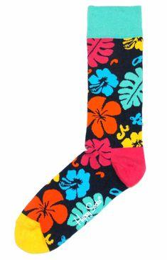 MENS SOCKS: Navy Multi-Color Hawaiian Floral Men's Dress Socks - Happy Socks