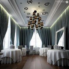 Elegant Curtain Restaurant Interior Design Ideas: Luxury Blue Curtain Restaurant  Design For Elegant Restaurant Interior