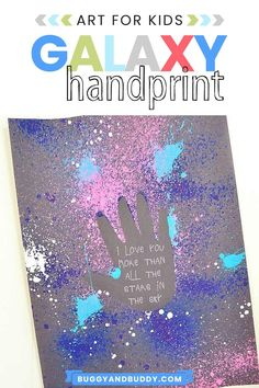 This galaxy inspired handprint art project is a wonderful keepsake and super fun to make! Kids use a splatter paint technique to create this negative space art. A fun craft to give as a gift or display in your home. Food Art For Kids, Art Activities For Kids, Craft Projects For Kids, Arts And Crafts Projects, Space Projects, Painting Activities, Creative Activities, Space Crafts Preschool, Easy Crafts For Kids