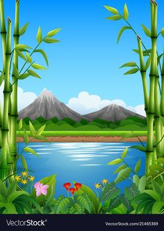 Landscape with bamboo trees in the lake and mounta vector image on VectorStock Artsy Background, Background Clipart, Beach Illustration, Landscape Illustration, Wallpaper Powerpoint, Animal Art Projects, Nature Sketch, Bamboo Tree, Creative Pictures