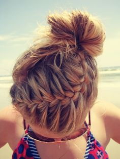 braid to bun. Such a great beach hairstyle that would stay in all day!