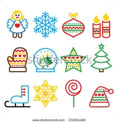 Christmas colored icons with stroke - Xmas tree, angel, snowflake, ice skate, snow ball, glove by RedKoala #Christmas #xmas