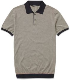 82b411c36dc Gucci Striped Cotton Polo Shirt in Gray for Men