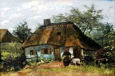 Vincent Van Gogh - Cottage and Woman with Goat. Farmhouse in Nuenen (La Chaumiére), 1885. Oil on canvas, 60 × 85 cm (23.6 × 33.5 in.). Städelsches Kunstinstitut und Stadtische Galerie, Frankfurt am Main, Germany