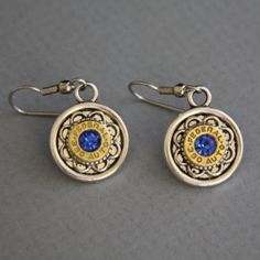 Bullet Earrings-Federal 380 Auto Earrings-Swarovski Blue Sapphire-Mixed Metals Ammo Jewelry Ammo Jewelry, Jewelry Art, Jewelry Ideas, Bullet Casing Jewelry, Bullet Earrings, Bullet Art, Bullet Shell, Gun Shell Crafts, Ammo Art