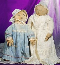 TWO UNIQUE EARLY AMERICAN FOLK ART RAG DOLLS