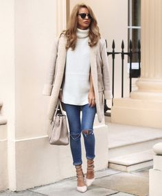Nada Adellewears a pale shearling lined coat with... - Street Style