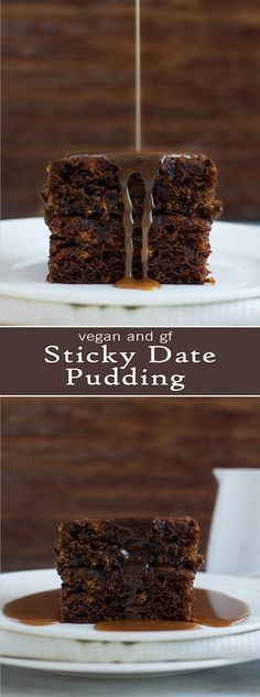 Sticky Date Pudding - Vegan & GF ( Note: increase dates and leave out brown sugar) Brownie Desserts, Mini Desserts, Plated Desserts, Vegan Treats, Vegan Foods, Healthy Treats, Vegan Recipes, Healthy Deserts, Health Recipes
