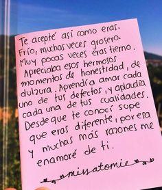 Te acepte así como eras... Sad Love, Love Life, True Love, Love Phrases, Love Words, Frases Love, Sad Texts, Tumblr Love, Spanish Quotes