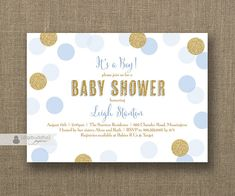 Baby Blue & Gold Baby Shower Invitation Boy Glitter Polka Dots Modern Baby Sprinkle Invite FREE PRIORITY SHIPPING or DiY Printable - Leigh