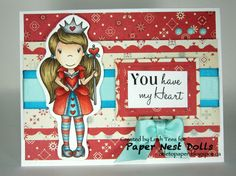 Paper Nest Dolls Inspiration with Queen of Hearts Ellie, August 2016, Created by Leah Tees, odetopaper.blogspot.ca
