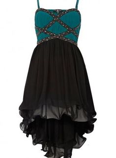 Teal and Black Embellished High-Low Sleeveless Dress,  Dress, formal dress  hi-lo dress, Chic