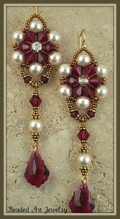 Beadwoven, Beaded, Beadwork Swarovski Crystal and Pearl Earrings. $45.00, via Etsy.: