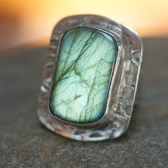 Huge Chunky Labradorite Cocktail Ring Recycled by PureDichotomy, $165.00