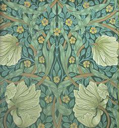 morris pimpernel wallpaper privet + slate (bedroom?)