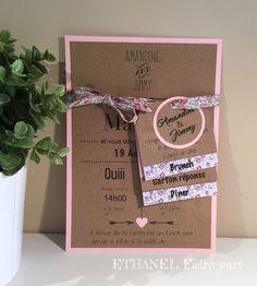 Faire-part mariage Liberty rose poudré, Papier Kraft et tissu liberty rose Pastel pour un mariage sur le thème du rétro chic.  Carte simple d'environ 14,5cm x 21cm. Lien de  - 19493225