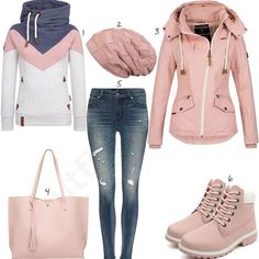 Rosa Damenoutfit mit Pullover, Stiefeln und leichter Jacke Pink Ladies Outfit with Sweater, Boots and Lightweight Jacket Teen Girl Outfits, Mode Outfits, Outfits For Teens, Fashion Outfits, Casual Winter Outfits, Classy Outfits, Trendy Outfits, Fall Outfits, Teenager Mode