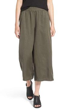 Eileen Fisher Wide Leg Crop Tencel® & Linen Pants