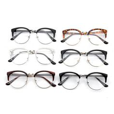 Women Vintage Nerd Glasses Clear Lens Eyewear Men Retro Round Metal Frame Glasses