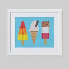 Retro Ice Cream Trio Cross Stitch Pattern Digital by Stitchrovia