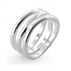 Modern Wave Sterling Silver Ring