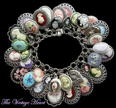 Vintage Sterling Cameo Charm Bracelet  https://www.facebook.com/pages/The-Vintage-Heart-Charm-Bracelets/114715421925849