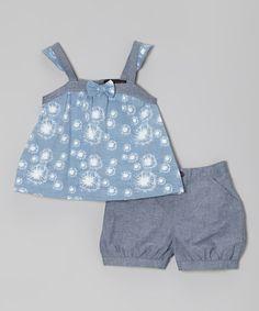 Look at this #zulilyfind! Blue & Gray Dandelion Tank & Shorts - Infant, Toddler & Girls #zulilyfinds