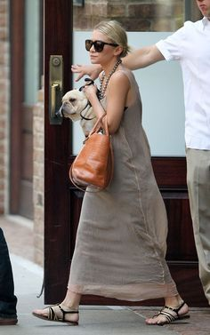 perfect summer look: maxi dress, shades,  structured bag, and sandals