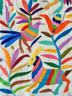I was inspired by these Otomi fabrics, such a beautiful embroidery work from Mexico. Mexican Embroidery, Floral Embroidery, Cross Stitch Embroidery, Embroidery Patterns, Mexican Fabric, Mexican Folk Art, Blackwork, Mexican Pattern, Mexican Designs