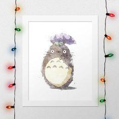 TOTORO PRINT, My Neighbour Totoro, Hayao Miyazaki, Studio Ghibli, Anime, Watercolor, Nursery, Digital Print by xNoxyArt
