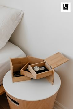 $32 · We love a secret storage moment. Tuck's boxes stack and swivel open and closed, making use of vertical space, creating a beautiful cube shape that looks great on dressers, vanities and countertops. Soft fabric lining the boxes will protect your jewelry and prevent it from moving around a lot inside the box. Jewellery Storage, Jewelry Organization, Jewellery Box, Modern Jewelry Box, Diy Jewelry Box, Natural Jewelry, Jewelry Stand, Bamboo Box, Nesting Boxes