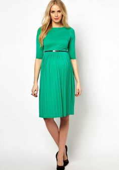 Find the best selection of ASOS Maternity Midi Dress With Pleated Skirt. Shop today with free delivery and returns (Ts&Cs apply) with ASOS! Maternity Midi Dress, Asos Maternity, Maternity Fashion, Maternity Clothing, Maternity Style, Cute Dresses, Dresses For Work, Dresses Dresses, Green Midi Dress