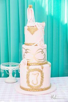 Ballerina birthday cake at a Shabby Chic Hot Air Balloon themed birthday party via Kara's Party Ideas KarasPartyIdeas.com #shabbychic #shabbychiparty #hotairballoonparty...