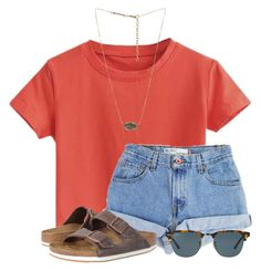 """""""Tennis Districts """" by flroasburn ❤ liked on Polyvore featuring Levi's, Birkenstock, Ray-Ban and Kendra Scott"""