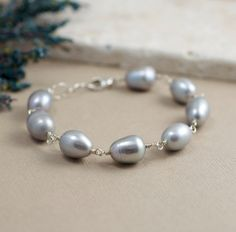 Chunky Pearl Bracelet in Sterling Silver Blue pearls by BlueRoomGems, $44.00
