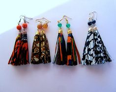 Items similar to African Wedding Earrings - Green Orange Blue Brown Natural Stone Long Tassel Earrings on Etsy Fabric Earrings, Long Tassel Earrings, Fabric Beads, Fringe Earrings, Diy African Jewelry, African Accessories, African Earrings, Car Accessories, Bold Jewelry