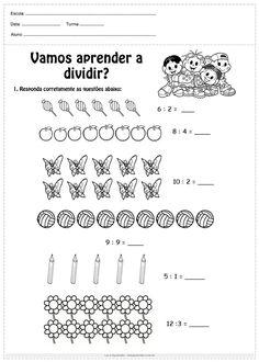 Atividades de multiplicação e divisão 2º ano - Para Imprimir Math Division Worksheets, Math Sheets, Phonics Words, Simple Math, Math For Kids, Elementary Math, Math Games, Math Lessons, Learning