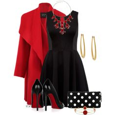 """Little Black Dress with Red"" by colierollers on Polyvore"