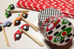 Race Car Party Pack Cupcake Paper Wrappers Toppers and by Dibrel, $14.99