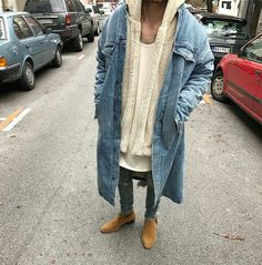 Fear of God denim coat w/ Japanese cotton, and chelsea boots