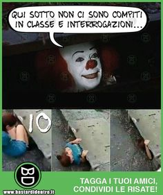 Ci sono cose peggiori di #pennywise  #bastardidentro #it #pagliaccio #scuola www.bastardidentro.it I Hate My Life, Life Is Good, Italian Memes, All Meme, Funny Memes, Jokes, Savage Quotes, Vignettes, Einstein
