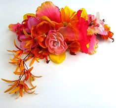 Bright Pink and Yellow Orange Flower Headband -- To view further for this item, visit the image link. (This is an affiliate link) Orange Flowers, Bright Pink, Hair Clips, Image Link, Floral Wreath, Yellow, Hair Rods, Floral Crown, Orange Blossom
