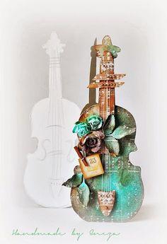 Guitar/violin shaped card,. Great idea