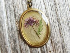 Pressed Flower Necklace Botanical Jewelry Resin by KateeMarie,