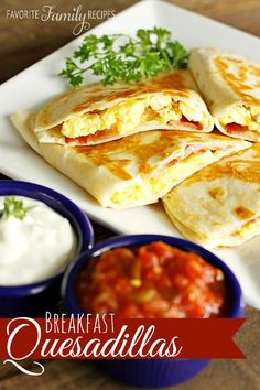 My family LOVES breakfast quesadillas. Much like a breakfast burrito, they are filled with egg, cheese and your favorite breakfast meat.