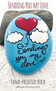 Sending You My Love Painted Rock, Heart Balloon Gift for Military, Memorial Gift for Loved One, Remembrance Rock Paperweight, Hand-Painted Stone — Alleluia Rocks Rock Painting Patterns, Rock Painting Ideas Easy, Rock Painting Designs, Pebble Painting, Love Painting, Painting For Kids, Pebble Art, Shell Painting, Painted Rocks Craft