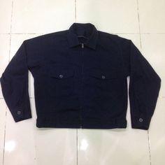 vintage 60s 70s worker jacket talon zipper navy blue M / L size by bintangclothingstore on Etsy https://www.etsy.com/listing/502503661/vintage-60s-70s-worker-jacket-talon