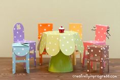 Miniature Table, Chair, Cupcake, and Stand by sung1203 - Cards and Paper Crafts at Splitcoaststampers